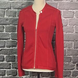 CHICO'S Red Military Style Zip Front Sweater S